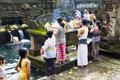 Prayers at Tirtha Empul, Bali, Indonesia Stock Photo