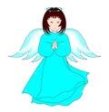 Praying angel beautiful isolated on white background Royalty Free Stock Photos