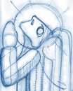 Praying angel illustration hand drawn religious or drawing of a Stock Photos
