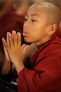 Praying buddhist novice burmese in a monastery in yangon myanmar Stock Image
