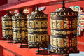 Praying drums at buddhist temple Royalty Free Stock Photo