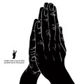Praying hands detailed vector illustration black and white Stock Photo