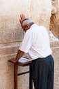 Praying jew at the western wall wailing wall in jerusalem israel Royalty Free Stock Image