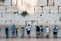 Praying jews in jerusalem at the western wall wailing wall israel Royalty Free Stock Image