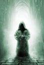 Praying Medieval Monk In Dark ...