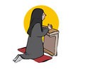 Praying nun young and kneeling Royalty Free Stock Photography