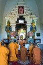 Praying at thatbyinnyu temple bagan in myanmar burmar monk is Royalty Free Stock Photos
