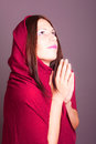 Praying woman portrait of in pose Stock Photography