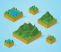 Pre assembly isometric map mountain illustration of Royalty Free Stock Image