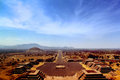 Pre columbian city of teotihuacan avenue the dead and the pyramid the sun viewed from the pyramid the moon mexico Royalty Free Stock Photos