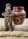 Pre columbian woman and pottery colima painted made around bc to ad Stock Image