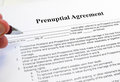 Pre nup signing a prenuptial marriage contract Royalty Free Stock Image