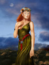 Pre raphaelite woman illustration of a redheaded in a silk dress in a style Royalty Free Stock Photo