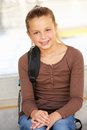 Pre teen girl in school Royalty Free Stock Photography