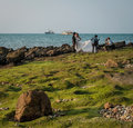 Pre wedding photographers at once a year event bali Hai Pattaya Royalty Free Stock Photo