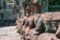 Preah khan angkor stone carvings gopura Arkivbilder