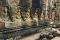 Preah Khan Temple Monks Bas-Reliefs Royalty Free Stock Photos
