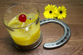 Preakness stakes black eyed susan with horseshoes cocktail official drink of the the official flower the gerber daisy or and Royalty Free Stock Image