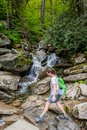Precarious Woman On Creek Crossing in Smokies Royalty Free Stock Photo
