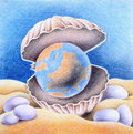 Precious earth handpainted conceptual illustration with colored pencils concerning environmental issues Stock Photo