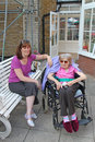 Precious moments this photo shows an elderly lady with her visitor at her home in faversham Stock Photography