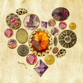 Precious stones heart on grunge background Royalty Free Stock Photos