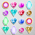 Gems Vector. Precious Stones Shimmer And Shine. Multicolored Round Brilliant Cut, Top View. Isolated
