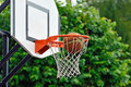 Precise shot basketball ball flies into the shopping cart Royalty Free Stock Photo