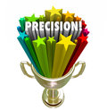 Precision word accurate aim goal achieved trophy winner in a gold for the of a game or competition with best or accuracy in Royalty Free Stock Photography