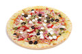 Precooked pizza with bacon, olives, cherry tomatoes, goat cheese Royalty Free Stock Photo