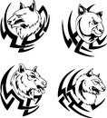 Predator animal head tattoos black and white vector illustrations Royalty Free Stock Photography