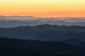 Predawn light blue ridge mountains north carolina glow over the as seen from table rock mountain in near the linville gorge and Stock Photography