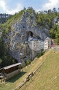 Predjama castle slovenia characteristic and imposing perched on a mountainside Royalty Free Stock Photos