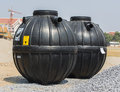 Prefabricated septic tank on sitework Royalty Free Stock Photos