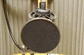 Prefessional studio microphone in sound booth closeup of a an anti echo Royalty Free Stock Photography