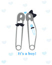 Pregnancy announcements with safety pin vector. Baby boy announcement greeting card Royalty Free Stock Photo