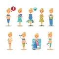 Pregnancy cartoon funny drawings vector illustration Royalty Free Stock Image