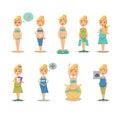 Pregnancy cartoon funny drawings vector illustration Royalty Free Stock Photo