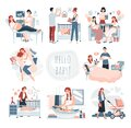Pregnancy and childbirth, happy family with newborn baby, set of cute cartoon characters, vector illustration