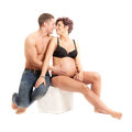 Pregnancy couple beautiful happy young Stock Photo