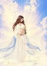 Pregnancy Maternity Beauty Concept, Pregnant Holy Woman, Saint M Royalty Free Stock Photo