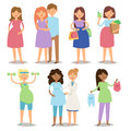 Pregnancy motherhood people and expectation concept happy pregnant woman character life with big belly vector