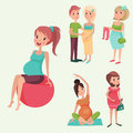 Pregnancy motherhood people expectation concept happy pregnant woman character life with big belly vector illustration