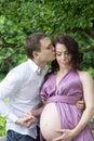 Pregnancy. Portrait of future parents.