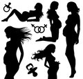 Pregnancy set of silhouettes of a pregnant woman Royalty Free Stock Images