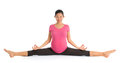 Pregnancy yoga meditation class full length healthy asian pregnant woman doing exercise stretching full body isolated on white Stock Photo