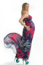 Pregnant blonde beautiful long dress Royalty Free Stock Photos