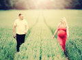 Picture : Pregnant couple togetherness landscape a