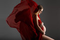 Pregnant girl in red dress