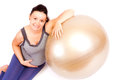 Pregnant gym beautiful woman relaxing with fitness ball isolated Royalty Free Stock Images